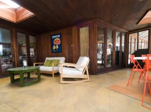 A three-season room has the same radiant-heat concrete floors as the rest of the house.