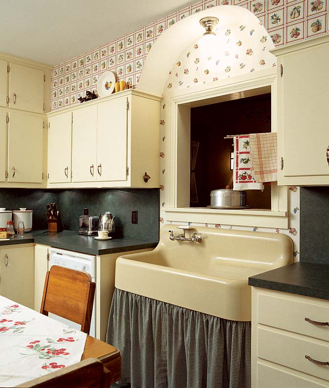 Add charm with kitchen wallpaper old house online old for Kitchen wallpaper patterns