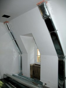 In one of the children's rooms, a false wall was built to disguise ducts attached to the wall.