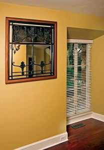 Air-return grilles are incorporated into the home's décor.