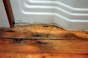 Water splashed outside a tub enclosure causes a common mold environment, indicated by black staining on the floorboards.