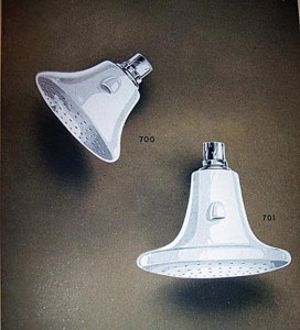 Porcelain shower heads, like these from a Thomas Maddock & Sons catalog, had a spurt of popularity in the early 20th century.