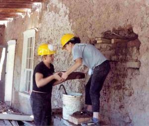 Volunteers from Youthworks help Cornerstones Community Partnerships restore the Gutierrez-Hubbell House, a 19th-century adobe hacienda.
