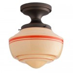 Ceiling-mount and semi-flush fixtures like the 'Westmont' from Schoolhouse Electric pop in tight places.
