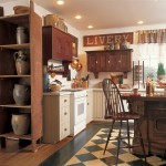 This practical, modern-functioning kitchen has a primitive aesthetic.