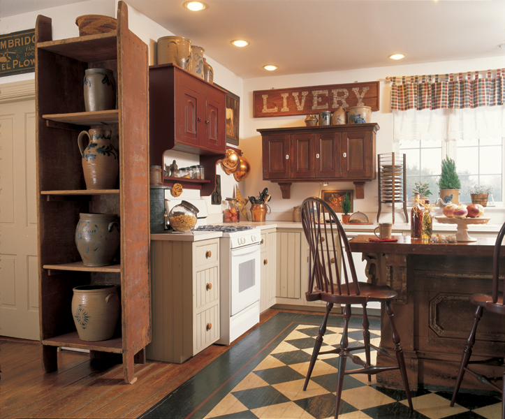 3 ideas for decorating with primitives and folk art old for Making old kitchen cabinets look modern
