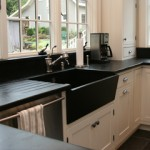 Our countertops and a pieced together slant front sink.