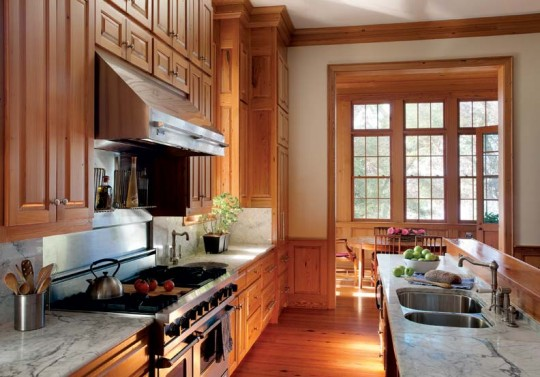 The kitchen cabinetry is based on historical butler's pantry profiles.