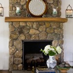 Connecticut river stones also surround the fireplace.