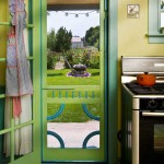 An old-fashioned screen door opens to the garden in back.