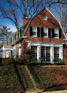 In an unusual twist for the neighborhood, this Dutch Colonial turns its gambrel-roofed end toward the street.