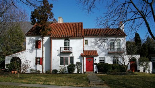 Several Spanish Colonial Revival houses add to the variety of styles in the Guilford Historic District.
