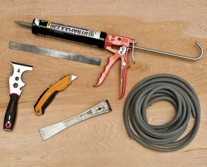 Tools needed for caulking a door