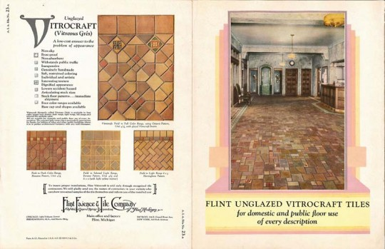 Flint Faience tiles came in many varieties, glazed and unglazed. This 1929 brochure advertises a bounty of unglazed Vitrocraft tiles.
