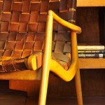 The mid-century Jens Risom leather lounge chair came from Rago Arts and Auction Center.