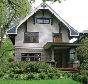 One of the district's architectural gems, this 1909 house is a blend of Craftsman and Arts & Crafts influence.