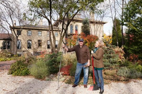 The couple's garden has a gravel base for reduced maintenance.