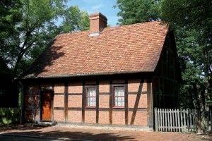 Third House is part of an early group of houses, originally built in 1767 in the Germanic tradition with half-timbered walls and a steep tile roof.