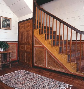 The discovery of hand-painted paneling, highly unusual in a frontier house, may have saved the structure from being chopped up for firewood.