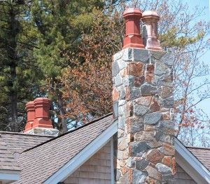 Pots play up multiple flues and are often varied in style on different chimneys.