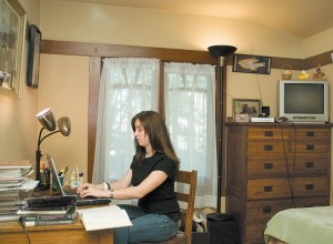 Wireless Internet access and bright lighting are 21st-century necessities found only in the students' bedrooms.