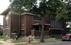 A rare example of a Prairie School church, Stewart Memorial Presbyterian Church (now Redeemer Missionary Baptist Church) was designed by Purcell before Elmslie joined the firm.