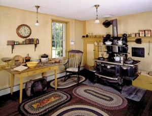 Castle Tucker in Wicasset, Maine, is an 1807 museum house preserved to show its appearance in the late 19th century, when even an upscale kitchen was little more than a wood-burning cookstove garnished by a few sticks of functional furniture.