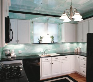 The author helped owners of this St. Louis kitchen with a total remodel. Structural glass kitchens of pale green were thought to be soothing to the eyes.