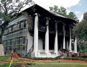 The Texas governor's mansion sustained heavy damage after a fire on June 8, 2008.