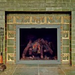 Square deco tiles surround the firebox in a fireplace fully covered in handmade 3x6 subway tiles, all from Weaver Tile.