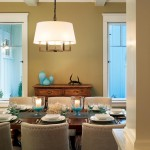 The dining room walls are finished in a warm taupe.