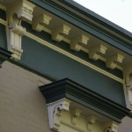 Brackets on an Italianate cornice and window