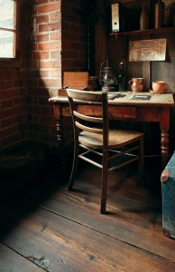 Reclaimed wood imparts the look of centuries-old boards.