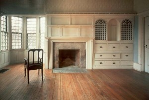 Narrow boards create the refined floors of Mrs. Bell's bedroom in the 1881 Isaac Bell House in Newport, Rhode Island.