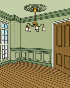 Different tints of the same color highlight the architectural features of a room, including the ceiling medallion.