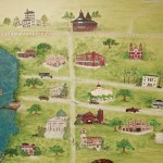 A hand-painted mural depicts Lake Charles at the turn of the century.