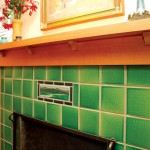 A landscape accent tile highlights the fireplace.