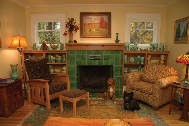 Arts crafts farmhouse makeover old house online old for Arts and crafts fireplace tile