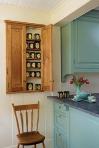 A shallow tea cupboard was Lucy's design idea.