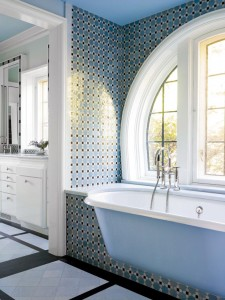 The homeowner is an artist who spent much of her childhood in the Middle East, thus a Moroccan theme for the master bathroom.