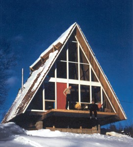 MIT student Henrik Bull brought the form East when he designed this two-story A-frame in Stowe, Vermont, in 1953—possibly the first in the area.