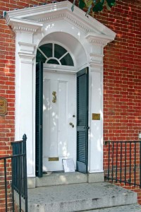 The doorway of the 1762 Upton Scott House exemplifies Georgian splendor.