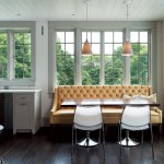 A modern banquette offers a fresh twist to the design.