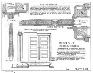 Many old carpentry manuals, such as 1899's Details of Building Construction, include helpful drawings of period features like pocket doors.