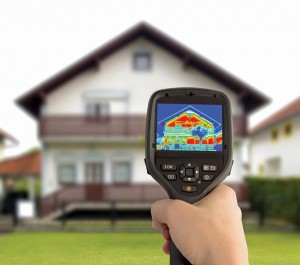 Thermal images—like those on this handheld infrared camera—can help pinpoint leaking heat (which appears as yellow and red).