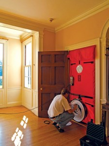 Blower door tests helped Historic New England analyze the house's energy loss.
