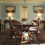 Robin's-egg blue walls in this Colonial Revival were sponged for soft color. Photo: Jean Kallina