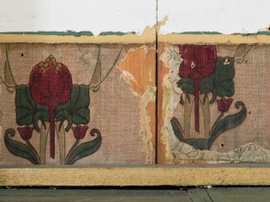 Inside this closet (top), Kerry discovered layer upon layer of wallpaper, including a pomegranate pattern underneath the trim (middle) and a cream-and-white acanthus leaf pattern hidden beneath several layers of plaster (bottom).