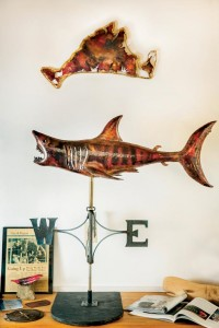 This weathervane is a replica of a shark inspired by the movie Jaws.