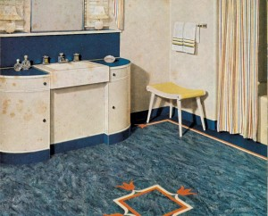 This bathroom, huge by '40s standards, had not only a floor with linoleum feature strips and insets, but also linoleum walls.